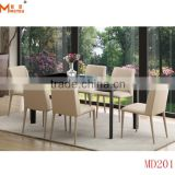 black tempered glass dining table 6 chairs set