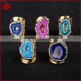 Wholesale Crystal Rhinestone Paved Gemstone Rings Adjustable Size oval shape gemstone rings
