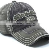 frayed baseball cap,denim baseball cap with applique embroidery
