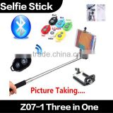 New Z07-1 3 in 1 Wireless Selfie Stick Camera Monopod+Holder Clip+Remote Shutter Controller Button for iPhone Samsung Huawei