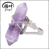 Wholesale fashion natural crystal ring Hexagon Prism shape ring