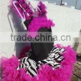 Wholesale hot pink cute dress with zebra for girls