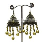 0002 HANDMADE JEWELRY Set Dangle STONE Brass Bell Stitch Beaded Earrings from THAILAND