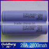 Light weight 100% new samsung 18650 battery ICR18650-28A 3.7V 2800mah for electrical tools