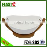 2015 Hot selling supermarket table ware ceramic fruit bowl with bamboo shelf                                                                         Quality Choice