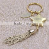 Promotion gifts gold star keychain tassel keychain with laser logo                                                                         Quality Choice