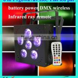 6X18W 6 IN 1 rgbwa uv battery powered wireless dmx led flat par can for wedding decoration