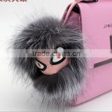 real fur Leather monster doll keychain charm golf cart bag pendant strap metal key ring cartoon toy gift fashion girl