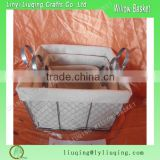 Factory wholesale s/3 square iron metal chicken wire storage basket with handle & liner