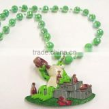 Bobble Beads Drunk Frog Poly Medallion Mardi Gras Beads Necklace