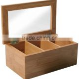 Chinese gongfu tea storage box Natural Living Bamboo 3 Compartment Tea Box with Clear Lid