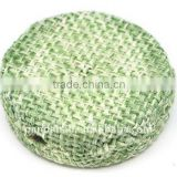 Woven Cloth Woven Beads, Acrylic with Cloth, PaleGreen, Flat Round, 33x11mm, hole: 3mm.(WOVE-R003-11)