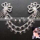 silver plated chain rhinestone double ladies hair combs,cheap rhinestone crystal hair comb