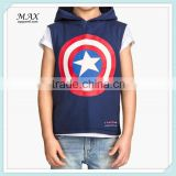 Fashion Style Hoodied Shirt For Child Sleeveless Hooded For Childed T-shirt For Boy