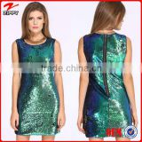 2016 emerald green evening dress, Latest Fashion Green Sleeveless Sequined Evening Dress