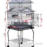 Large 20-Inch Pagoda Roof Top Top Parrot Lovebird Cockatiel Cockatiels Parakeets Bird Cage with Stand, Black Vein