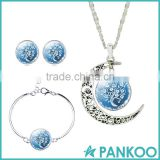 Fashion Women Fine Romantic Silver Color Jewelry Sets White Blue Tree Picture Glass Moon Pendant Necklace Stud Earrings Bracelet