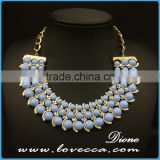 Latest designs women luxury gold plating jewelry exaggerate beaded collar necklace for women