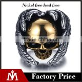 gold silver vintage gothic wing biker surgical stainless steel skull ring for man