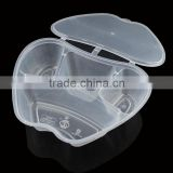 high quality plastic take-away food container with lid 1000ml apple -shape