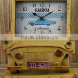 ANTIQUE YELLOW CAR SHAPE TABLE TOP CLOCK