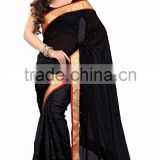Amazing Black Colored Border Worked Georgette Chiffon Saree 3117