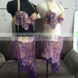 High grade purple bra and skirt dance wear for women QQ046