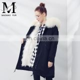 Woman Clothes Military Fox Fur Jacket with Raccoon Fur Collar Parka Winter Lady Bulk Wholesale Jacket