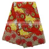 2016 fashionbale african ankara mixed with french net lace for women