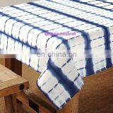 White $ Blue Table Cloth , 60x90'' Size Pure Cotton Table Cover Shibori Throw
