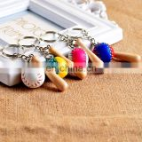 custom key holder leather baseball key chain keyring 3d mini baseball bat keychain for sport professional gifts