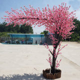 fiberglass trunk artificial peach tree with silk cloth leaves