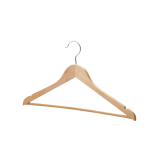 Deluxe Wood Coat Hangers, Glossy Finish with Extra Thick Chrome Hooks & Anti-Slip Bar