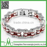 Men's Stainless Steel Silver and Red Bicycle Chain Large and Heavy Punk Biker Charm Bracelet