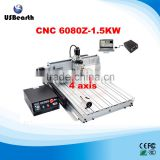 NEW !!! USB Port 1500W cnc router milling machine 6080Z-USB with 4 axis for PCB, Acrylic, wood, metal, aluminum