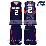 2015 Hot Selling Top Quality Custom Made Sublimation Cheap Youth's Basketball Uniform