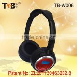 Alibaba hot sale bling adjustable wireless display screen headphones with built in mp3 fm radio TF card pink purple color