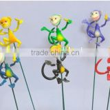 4 Inch Decorative Monkey with Banana Outdoor Yard Plastic Garden Animals Stakes