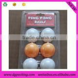 6 dividers PVC Blister Packaging Tray for ping-pong table tennis ball