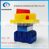 Isolator switch YMD11-32A load break switch universal power cut off switch on-off 32A 3P changeover cam switch 6 sliver contacts