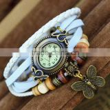 Vintage leather watch strap Japan movt quartz watch with butterfly pendant