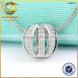 fashion style hollow silver jewelry with tiny cubic zirconia paved European charm bead pendant