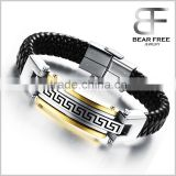 Mens Leather 316L Stainless Steel the Great Wall Fret Bangle Monogram Leather Cuff Bracelet Gold/ Silver