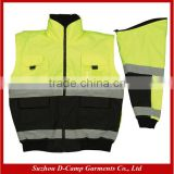 HVJ001 Detachable Sleeves Yellow and Black Wholesale Reflective Safety Jackets