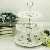 Wedding 3 tier ceramic cake stand with ribbon decorating plate