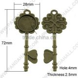 Antique Bronze Skeleton Key Pendant Cabochon Settings 20mm Blank Tray(TIBEP-ZX027-AB-FF)