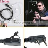 FBI Headset Coverts Earpiece Acoustic Tube PTT for KENWOOD 2Pin Radio w Mic Clip