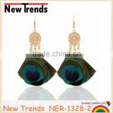 Fashion jewelry peacock feather drop earring wholesale