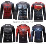 Guangzhou 2016 Polyester Spandex Sport Shirt / Superhero T-shirt Avengers Marvel Super Heroes Superman Mens Compression Wear Tee
