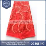 2016 unique coral tulle embroidery lace beaded fabric market in dubai top one sale embroidery african french fabric